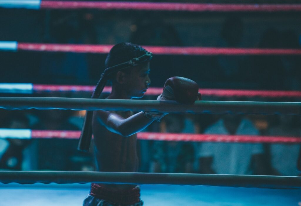 Young Nak Muay fighting muay thai in thailand