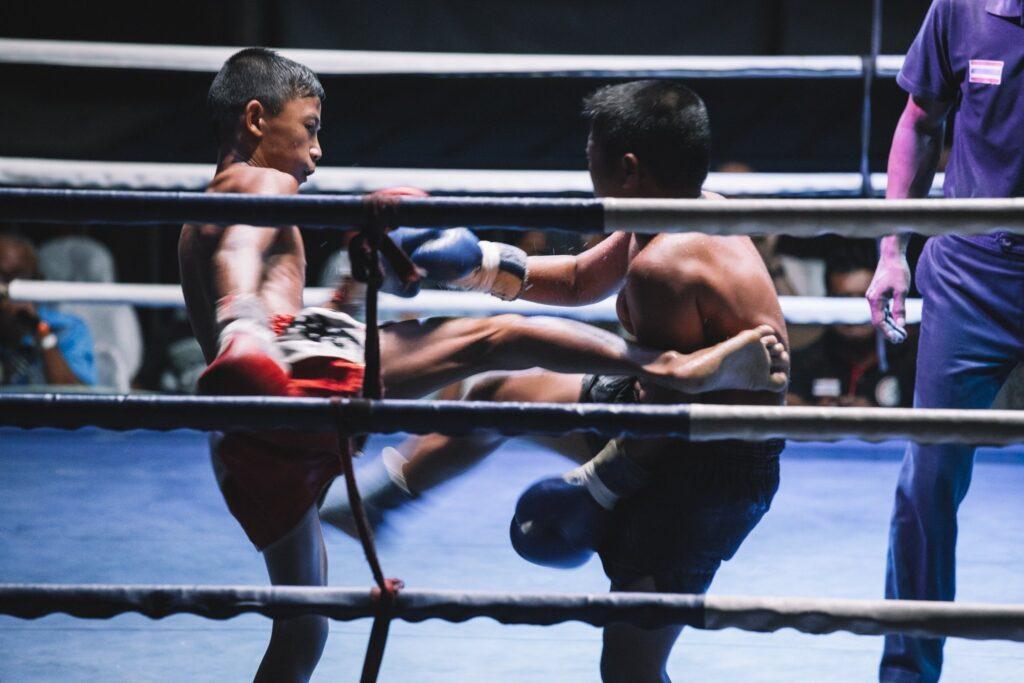 two nak muay fighting muay thai in thailand