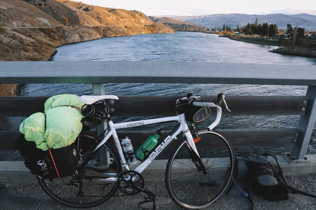 bike on the side of a  river in queenstown when cycling christchurch to queenstown