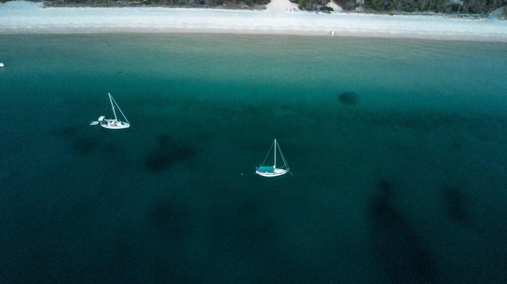 setting sun aerial photo of boats on the east coast of australia