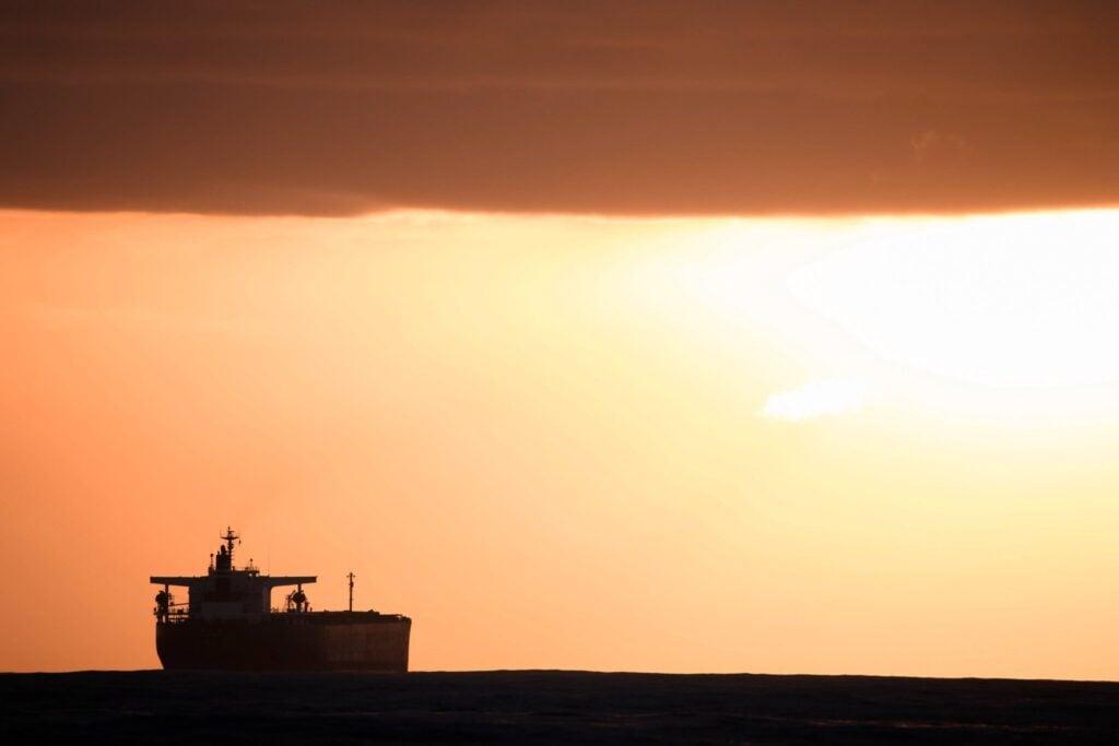 sunset tankers sailing up the east coast of australia