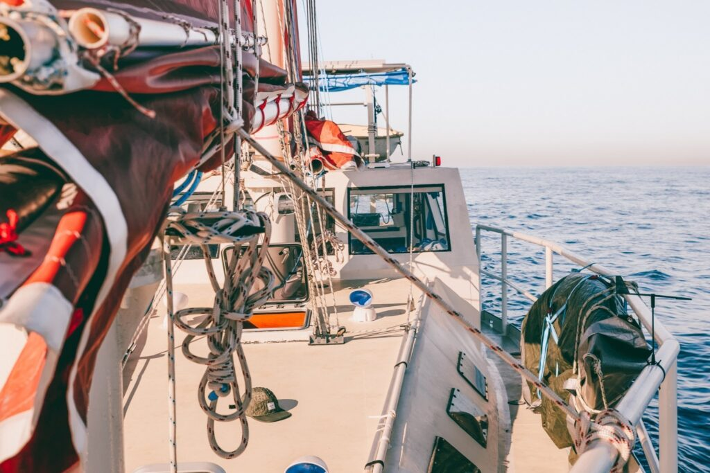steel junk rig sailing boat sailing up the east coast of australia