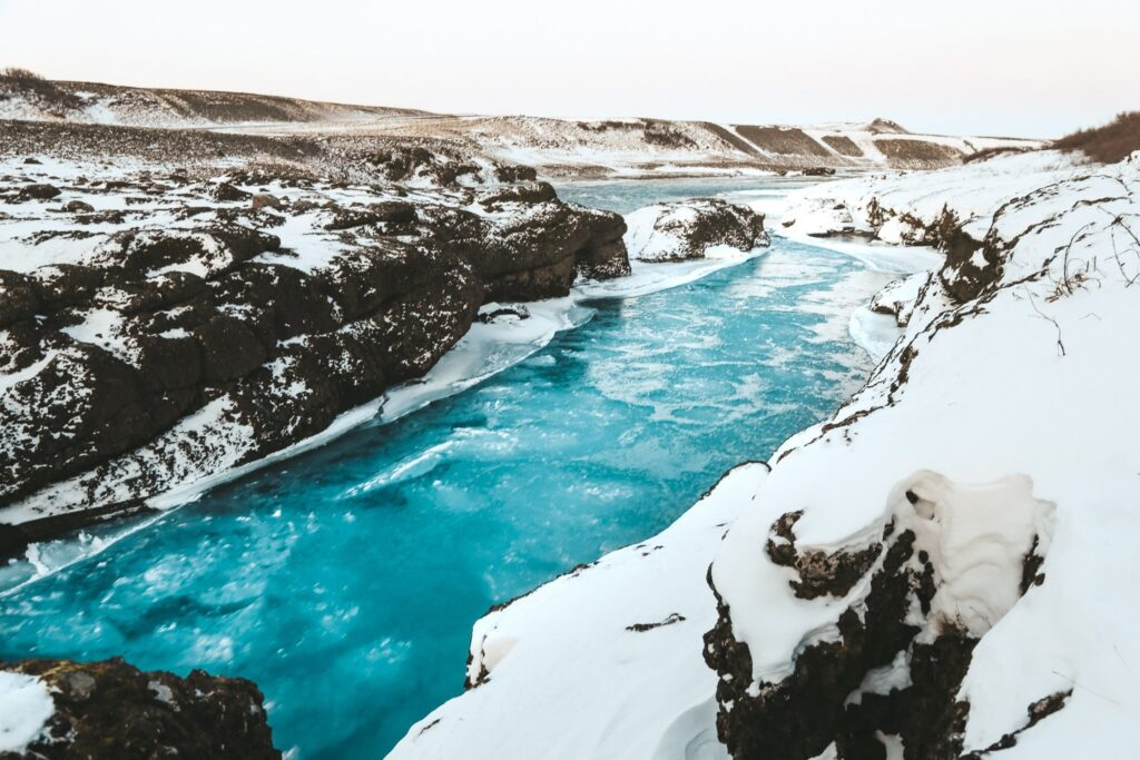 river flowing near gullfoss waterfall in iceland