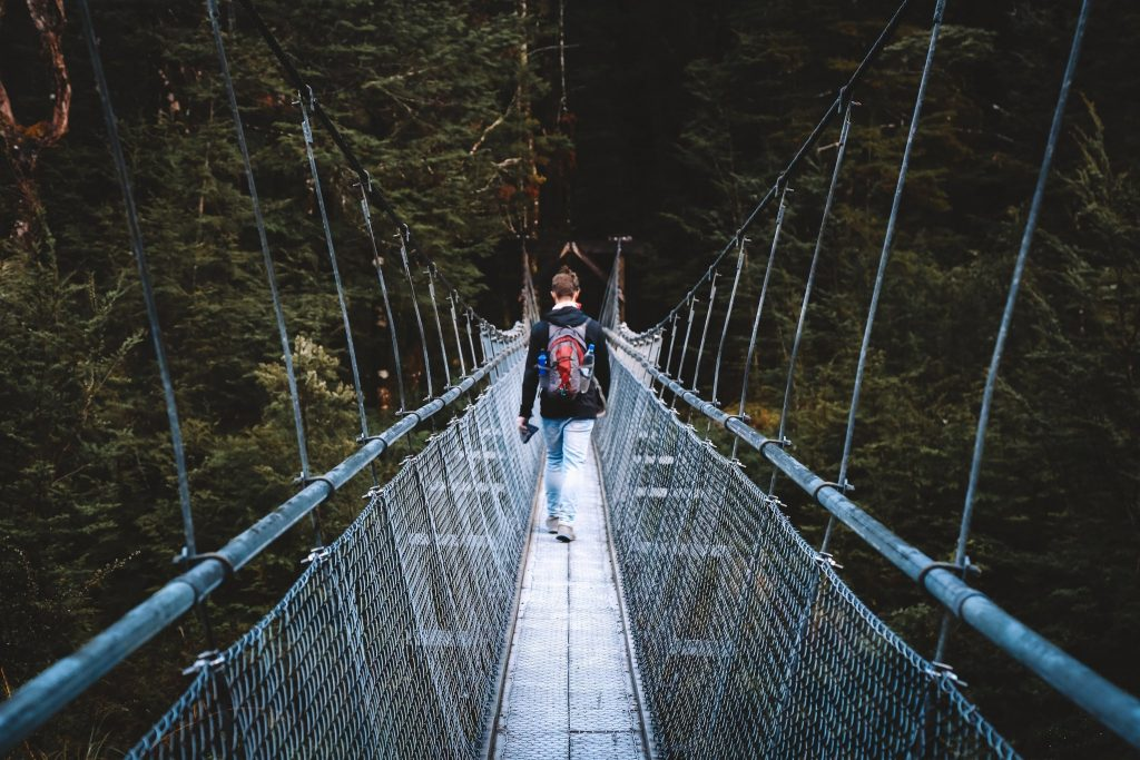 Suspension bridges on the Routeburn Track in new zealand