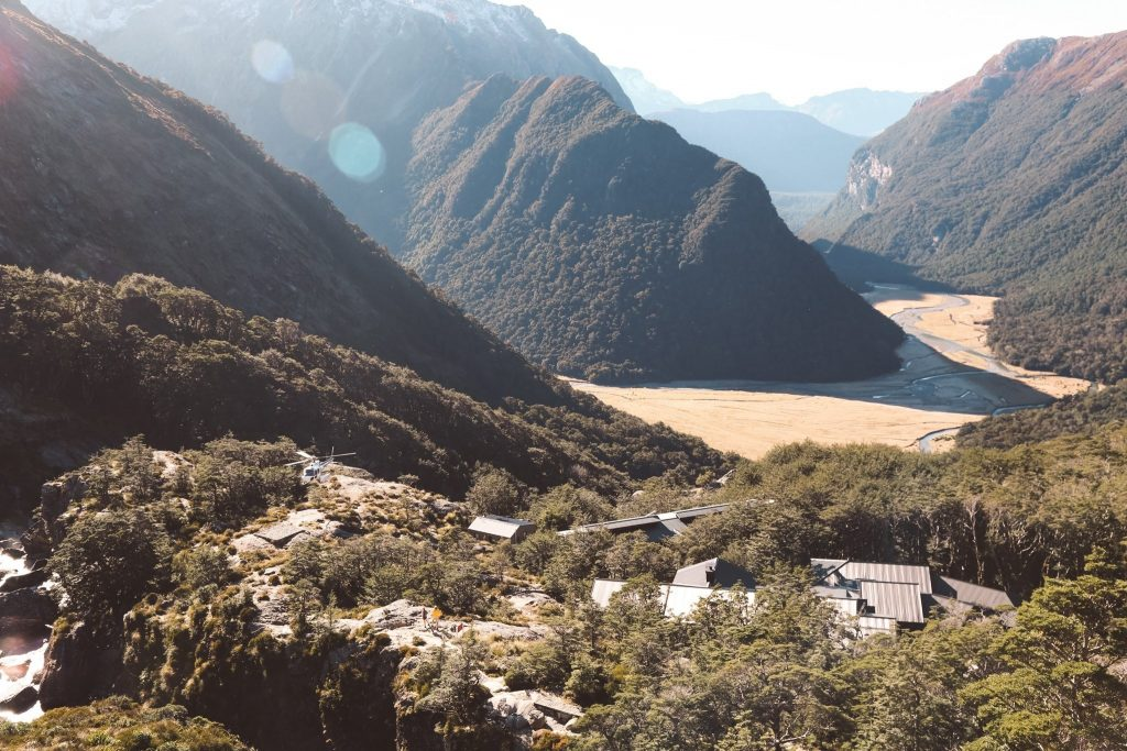 Mountain Lakes on the Routeburn track with a view of the valley.