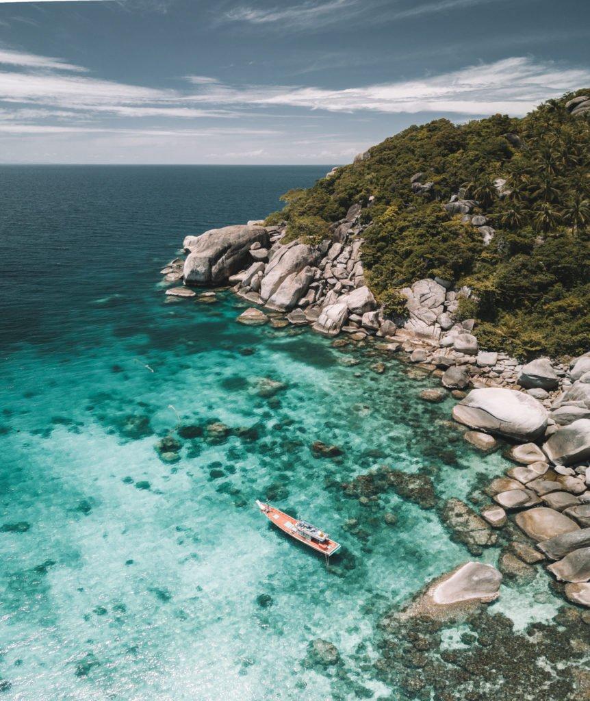 shark bay drone shot beaches on koh tao