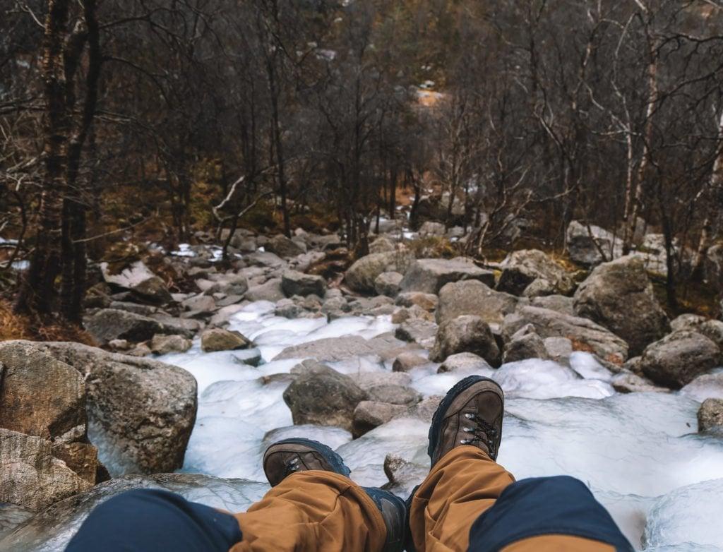 frozen waterfall when hiking to preikestolen