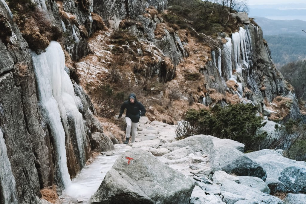 Icy Paths When Hiking to Preikestolen in Norway