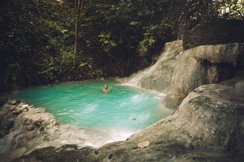 swimming at aguinid waterfalls in cebu