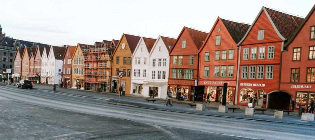 bryggen colourful houses in Bergen Norway