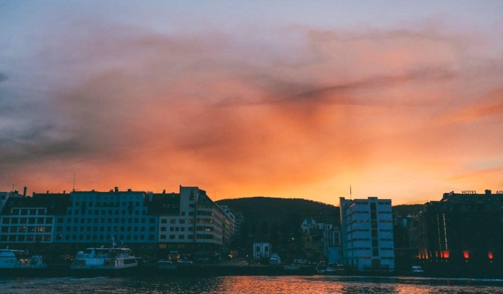 sunset in bergen taken from bryggen