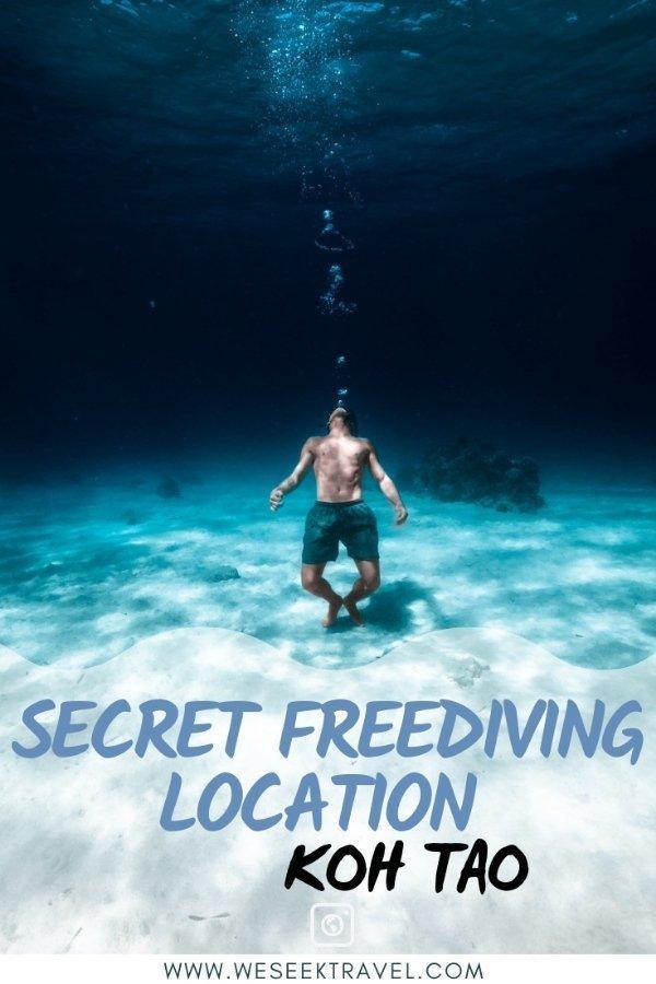 pinterest pin for secret freediving location on koh tao we seek travel underwater photography
