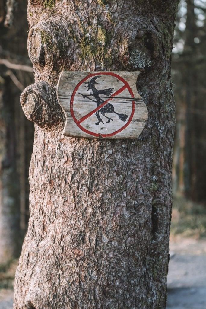 Troll sign in Mt Floyen Best Viewpoint Hike in Bergen