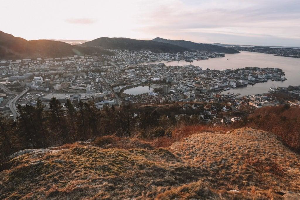 view from mt floyen of bergen viewpoint hike