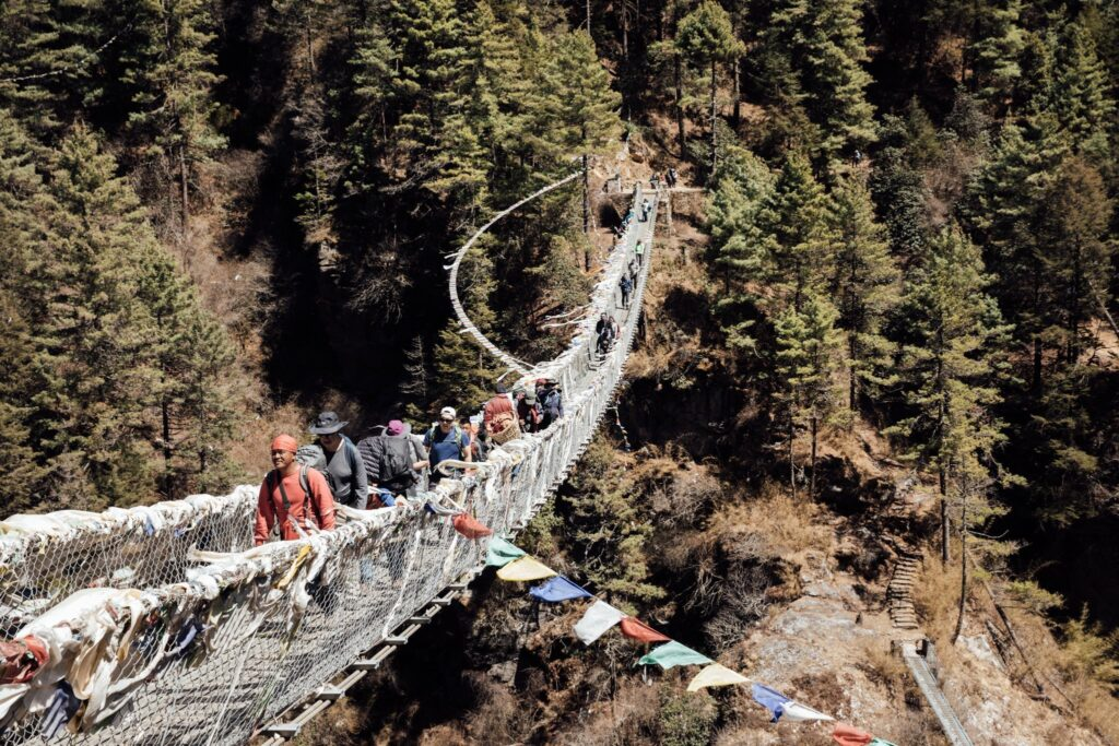 EDMOND HILLARY BRIDGE THREE HIGH PASSES TREK NEPAL