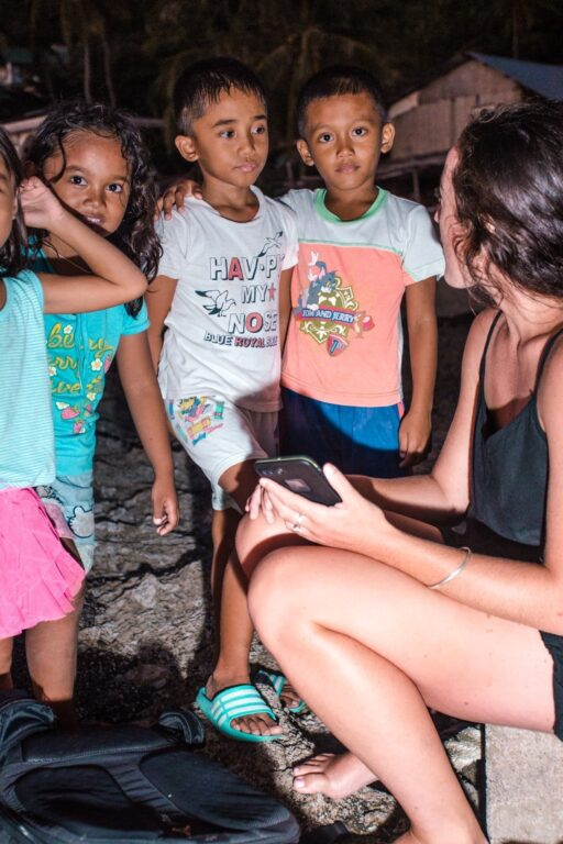 playing with local kids in the Philippines