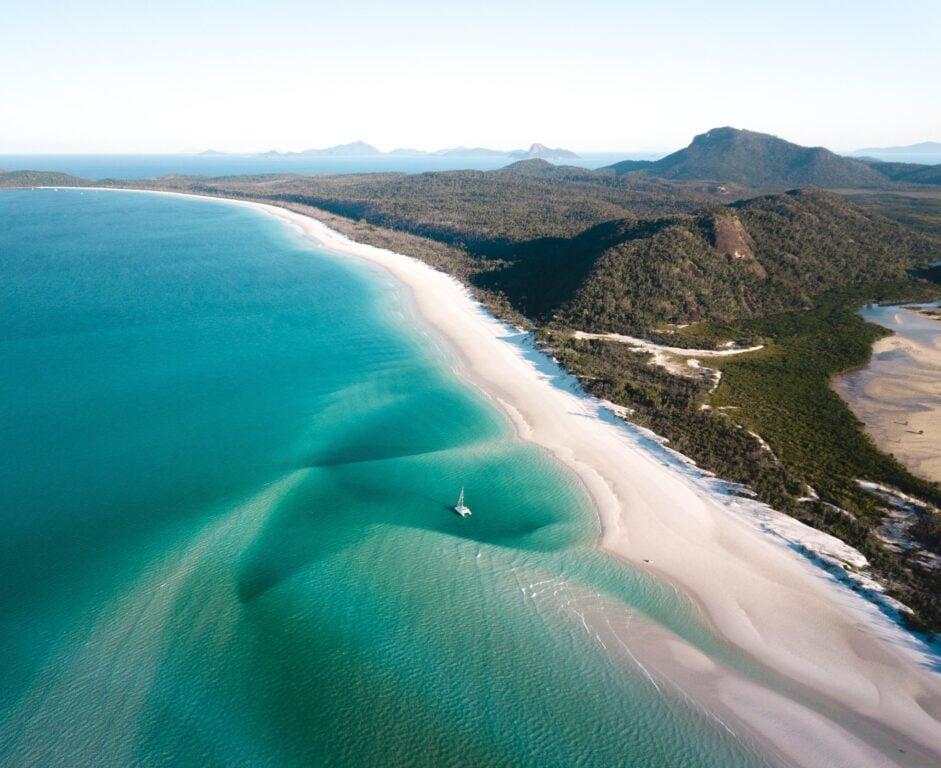 whitehaven beach aerial drone photo