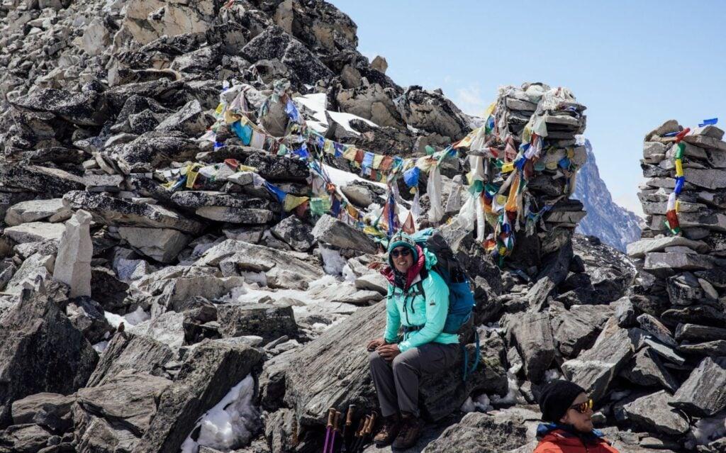 The Kongma La Pass Chortens and Prayer Flags on the Three High Passes Trek, Nepal