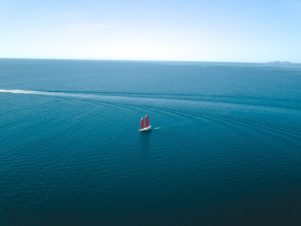 Red Junk Rig Sailing Yacht