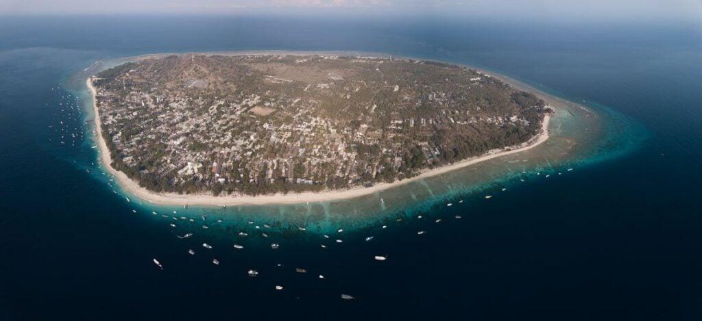 Gili Trawangan, Things to do, Gili T Island Aerial Lombok,