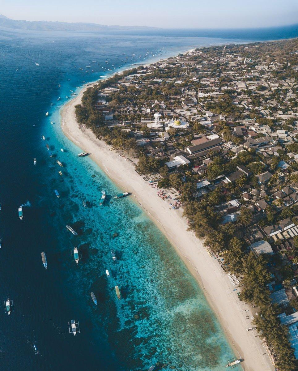 Gili Trawangan Beach Drone Photo