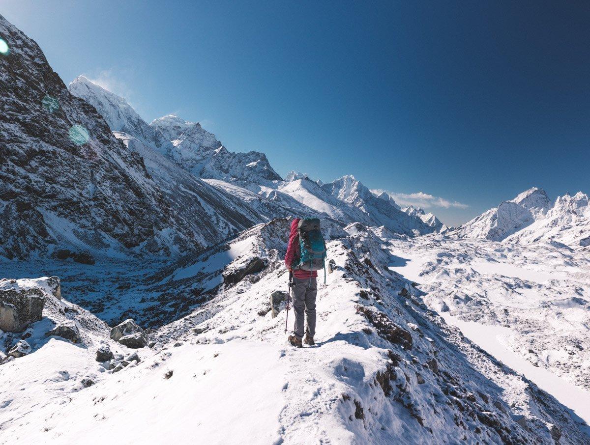 TOP OF THE CHO LA PASS NEPAL THREE HIGH PASSES TREK