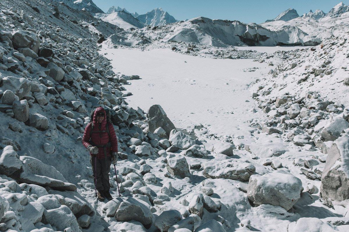 GOKYO TREK, THREE HIGH PASSES TREK, NEPAL, NGOZUMPA GLACIER