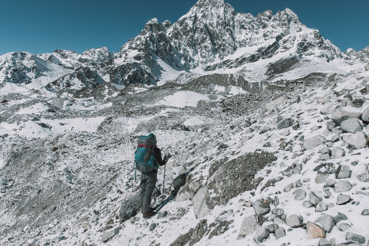 GOKYO RI FROM THE NGOZUMPO GLACIER, THREE HIGH PASSES TREK NEPAL