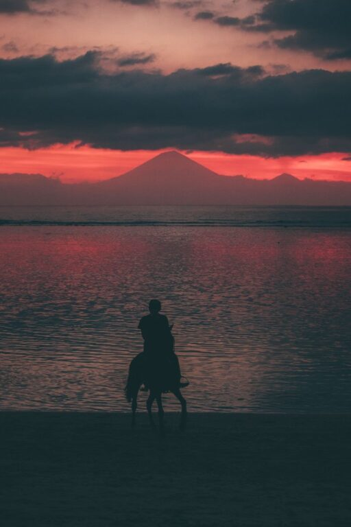 SUNSET ON GILI TRAWANGAN, MOUNT AGUNG VIEW