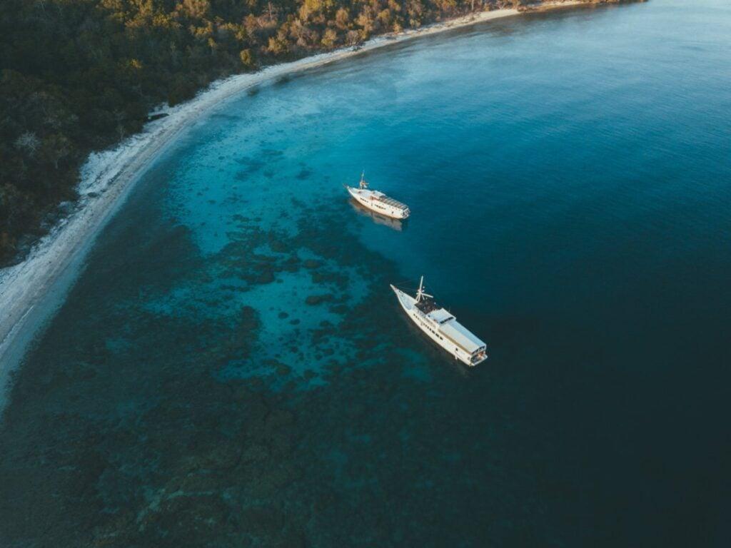 MOYO ISLAND AERIAL DRONE WANUA BOATS