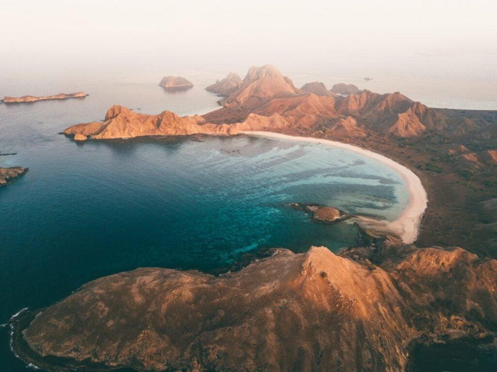 PADAR ISLAND DRONE PHOTO SUNRISE