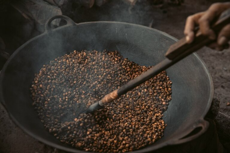 TRADITIONAL COFFEE ROASTING WITH SAND IN LOMBOK INDONESIA