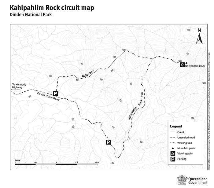 Kahlpahlim Rock Hike Map, Circuit Route, Dinden National Park, Ridge Trail