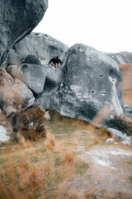 CLIMBING THE ROCKS AT CASTLE HILL NEW ZEALAND
