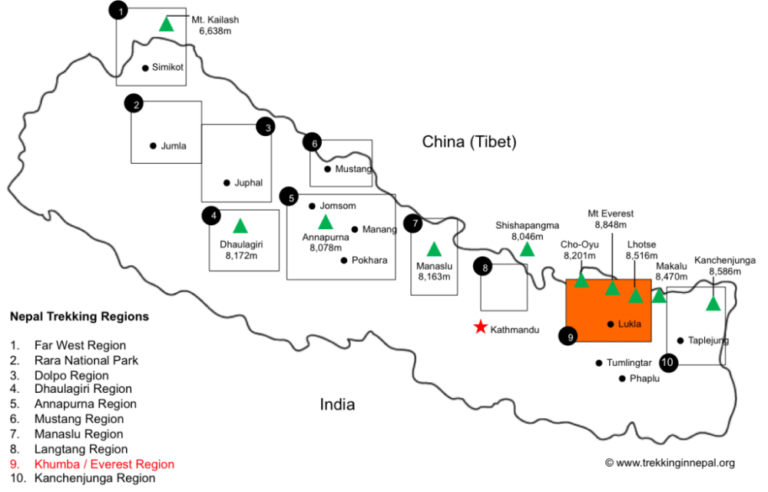 NEPAL MOUNTAIN REGION MAP
