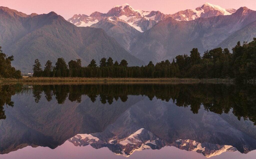 Lake MATHESON NEW ZEALAND, REFLECTION ISLAND MT COOK VIEW