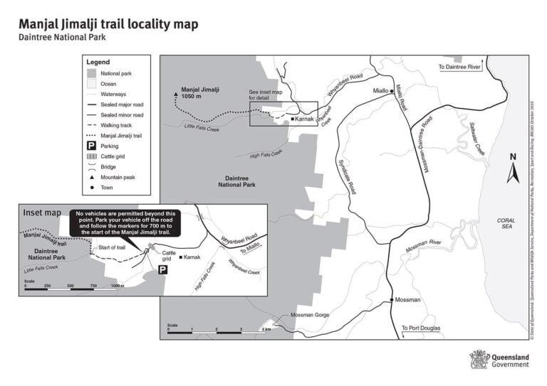 QLD Parks and Forests Manjal Jimalji Trail locality map (Devils Thumb)
