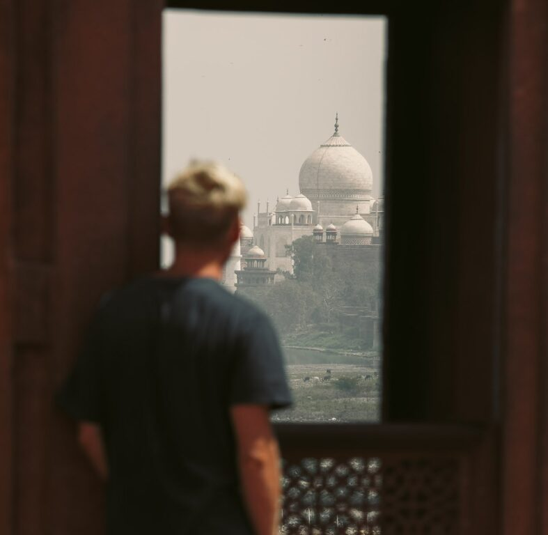 TAJ MAHAL AS SEEN FROM THE AGRA FORT INDIA