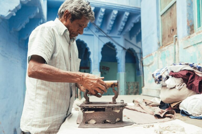 PORTRAIT OF A MAN IN THE JODHPUR BLUE CITY