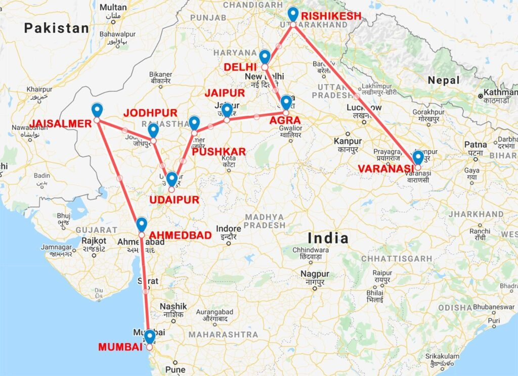 INDIA ITINERARY MAP 1 MONTH TRIP