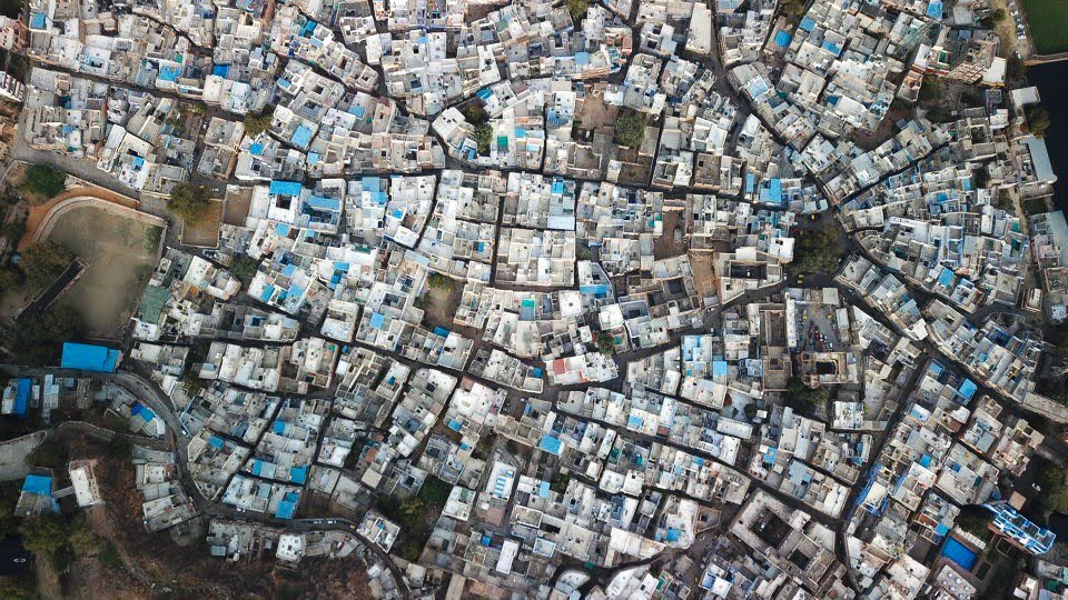 DRONE PHOTO OF THE BLUE CITY IN RAJASTHAN