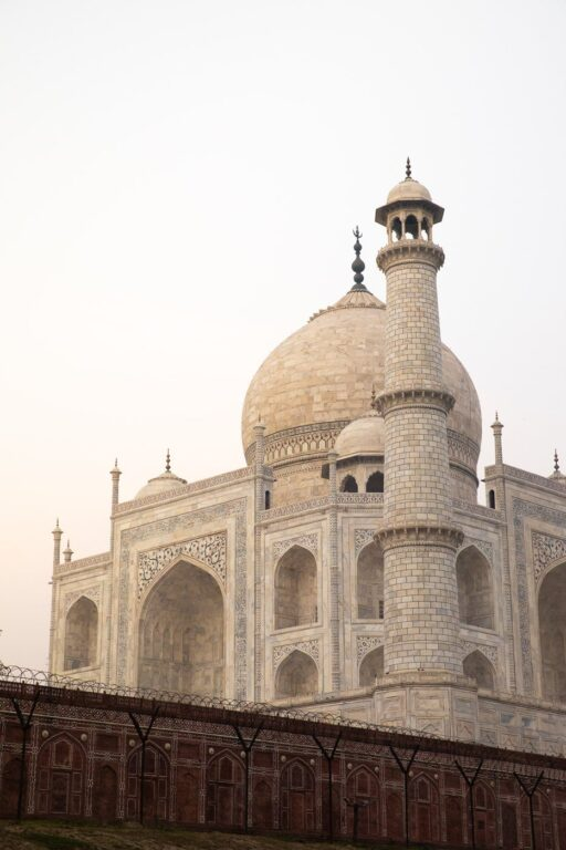 TAJ MAHAL FROM THE MEHTAB BAGH IN AGRA, INDIA