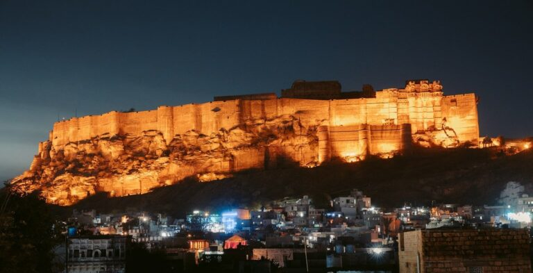 The Mehrangarh Fort lit up at night