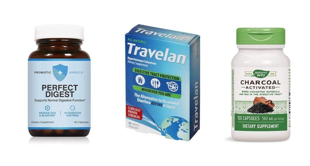 Prevent diarrhea with probiotics, travelan, charcoal tablets