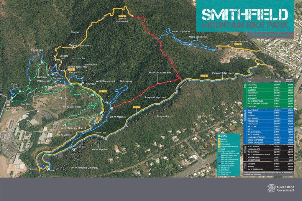 SMITHFIELD CONSERVATION PARK BIKE TRACK MAP FOR SADDLE MOUNTAIN HIKE