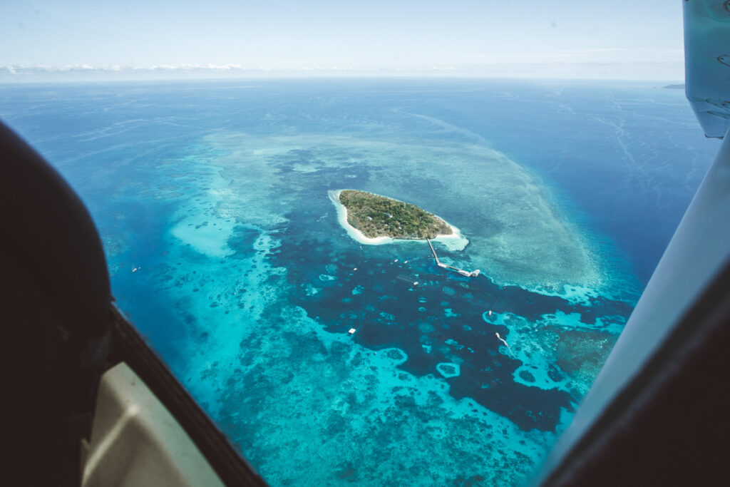 Green Island from a Great Barrier Reef plane flight from Cairns
