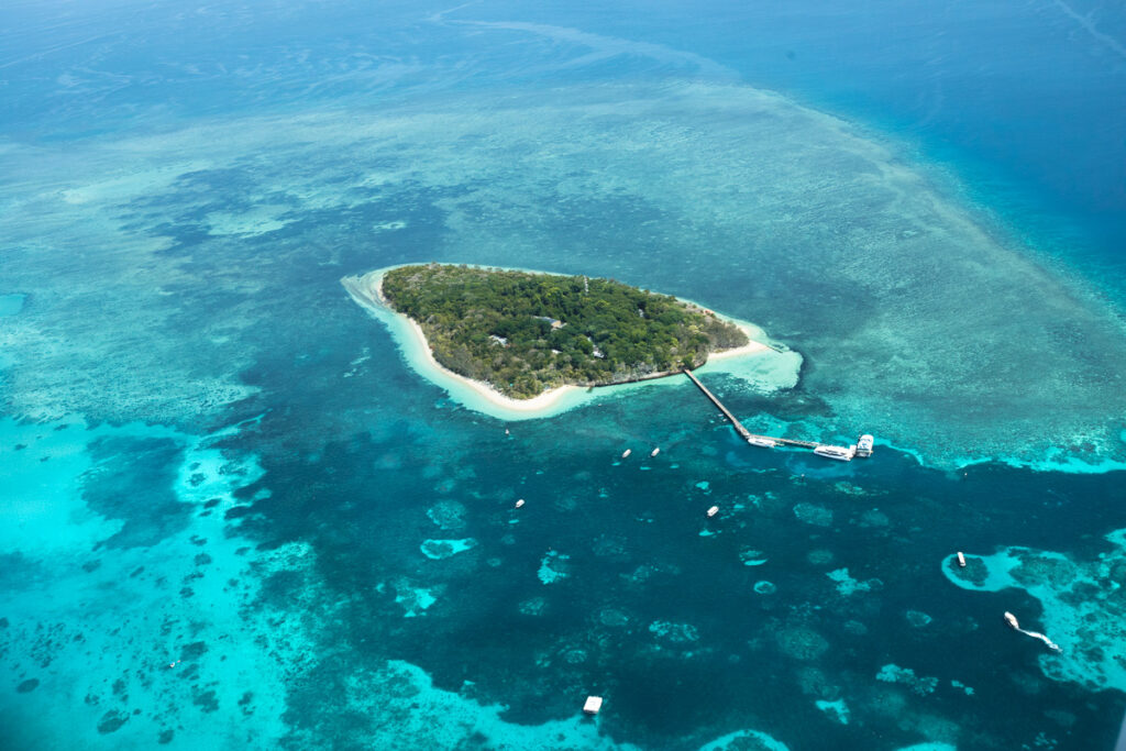 GREEN ISLAND FROM THE SKY, GREAT BARRIER REEF, CAIRNS, QUEENSLAND