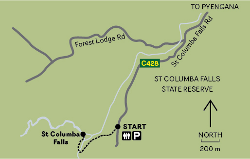 St Columba Falls Map to get to the waterfall from Pyengana
