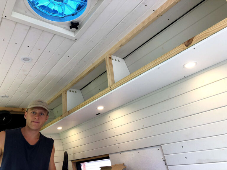OVERHEAD CABINETS AND DOWNLIGHTS IN A VAN