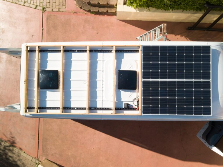 ROOF DECK FRAME AND SOLAR PANELS MOUNTED